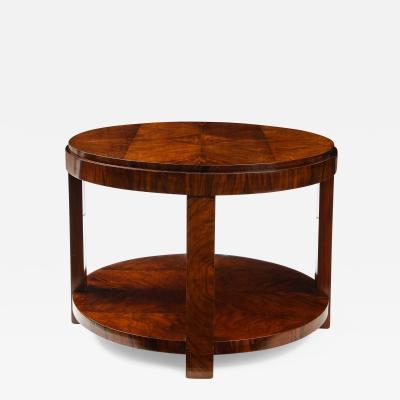 French 1930s Art Deco Walnut Circular Side Table