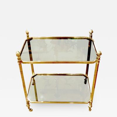 French 1940s Brass and Glass Serving Table on Casters