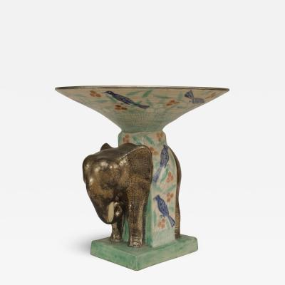 French 1940s Centerpiece with Elephant Figure Supporting Nowl
