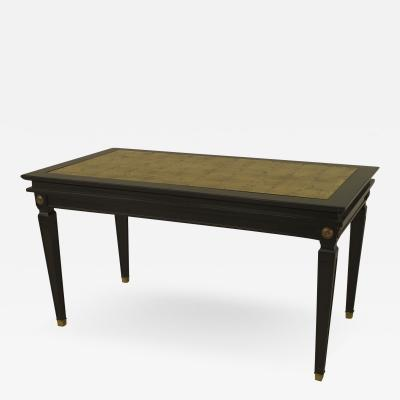 French 1940s Ebonized and Gilt Trimmed Coffee Table