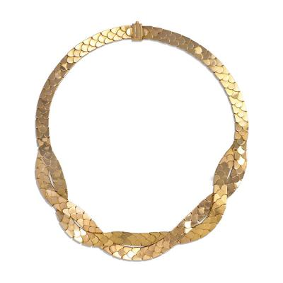 French 1940s Gold Reversible Necklace