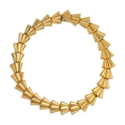 French 1940s Gold Scalloped Link Necklace