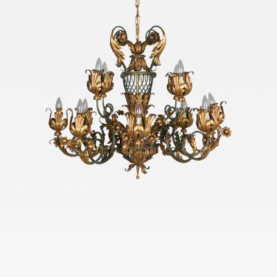 French 1940s Parcel Gilt Chandelier