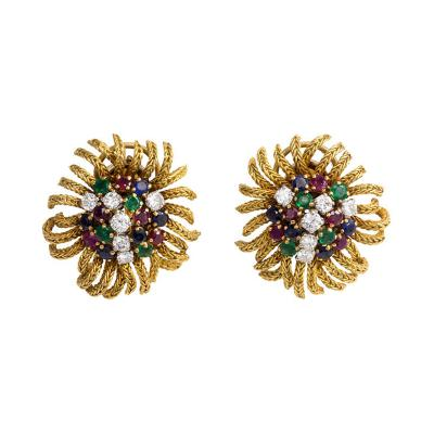 French 1950s Gold and Multi Gemstone Stylized Flower Clip Earrings