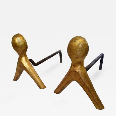 French 1950s Pair of Wrought Iron Andirons with Gold Leaf Abstract Figures