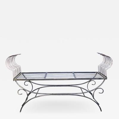 French 1950s Raw Iron Curule form Bench with Incurved Arms