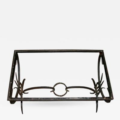French 1950s Wrought Iron Coffee Table