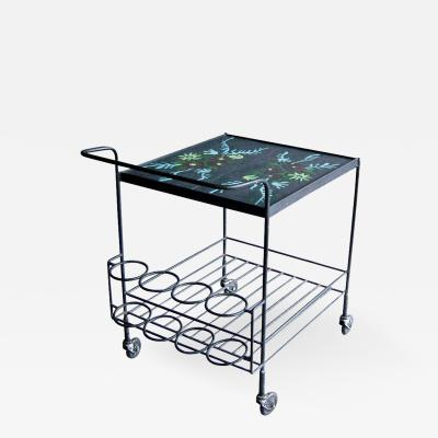 French 1950s Wrought Iron and Enameled Stone Rolling Cart