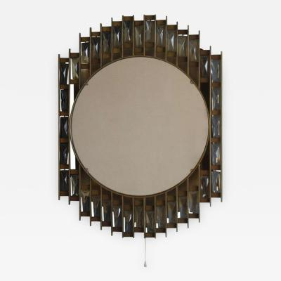 French 1970s Metal and Glass Illuminated Mirror