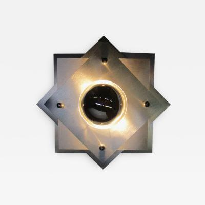 French 1970s Space Age Brushed Steel Wall Sconce