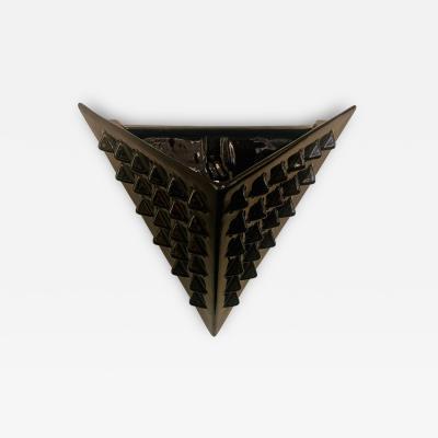 French 1980s Black Ceramic Post Modern Wall Light