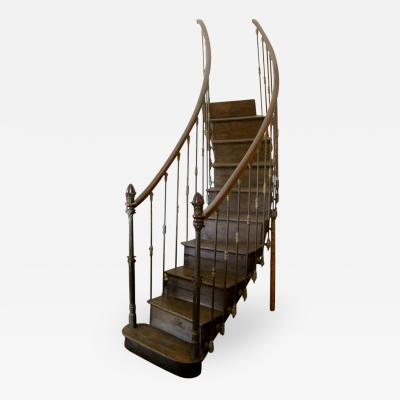 French 19th C Hand Carved Cast Iron Staircase
