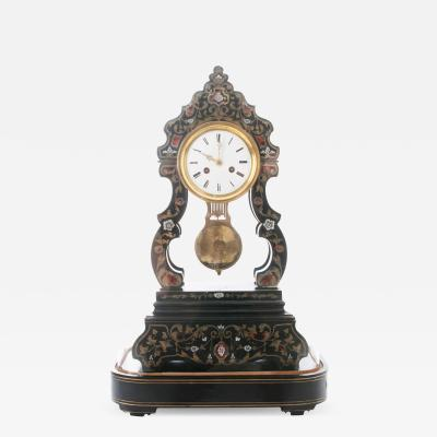 French 19th Century Boulle Inlay Table Clock Under Glass Dome