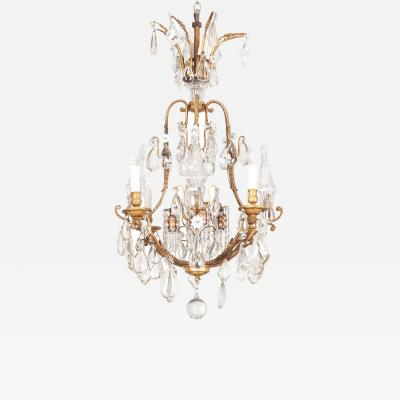 French 19th Century Brass and Crystal Rope Chandelier