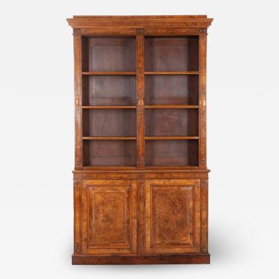 French 19th Century Burl Walnut Inlay Bibliotheque