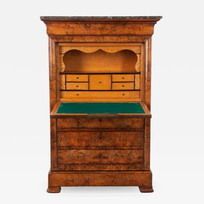 French 19th Century Burl Walnut Secre taire a Abattant