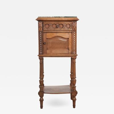French 19th Century Carved Walnut Bedside Table