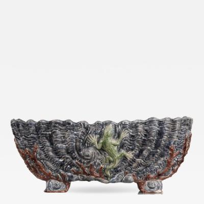 French 19th Century Ceramic Barbotine Planter