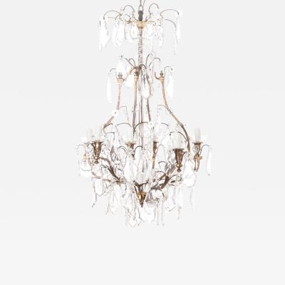 French 19th Century Crystal and Brass Chandelier