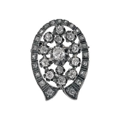 French 19th Century Diamond Brooch Pendant 18K and Silver C 1870
