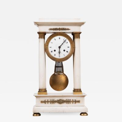 French 19th Century Empire Portico Clock