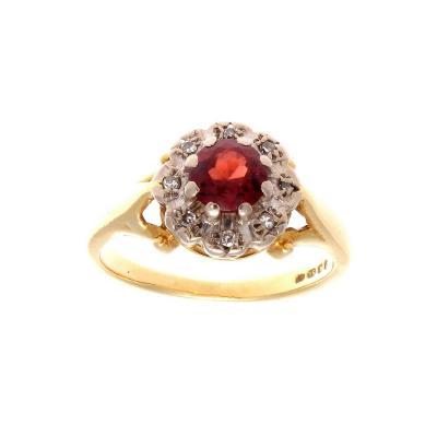 French 19th Century Garnet Diamond Cluster Ring