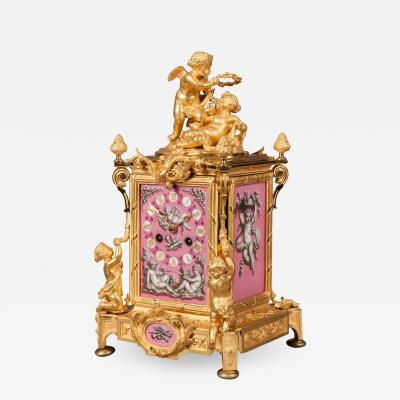 French 19th Century Gilt Bronze and Pink Porcelain Carriage Clock