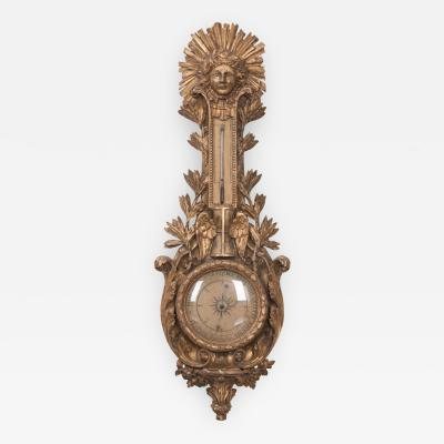 French 19th Century Gold Gilt Barometer