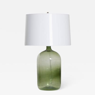 French 19th Century Green Glass Demijohn Lamp