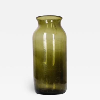 French 19th Century Green Glass Pickling Truffle Jar