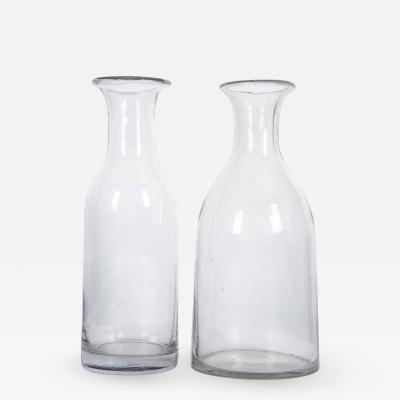 French 19th Century Hand Blown Glass Decanters