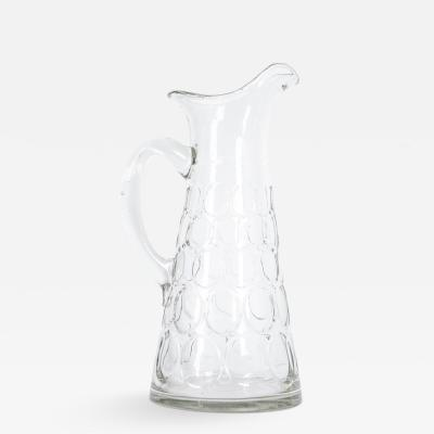 French 19th Century Hand Blown Glass Thumbprint Pitcher
