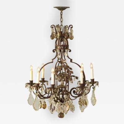 French 19th Century Iron Tole and Crystal Chandelier