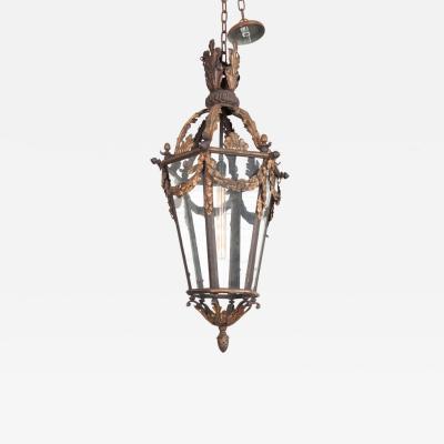 French 19th Century Iron and Gilt Brass Single Light Lantern
