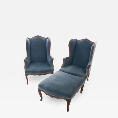 French 19th Century Louis XV Pair of Bergeres with Ottoman