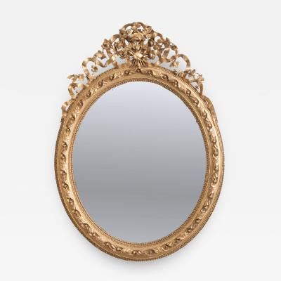 French 19th Century Louis XVI Oval Giltwood Mirror