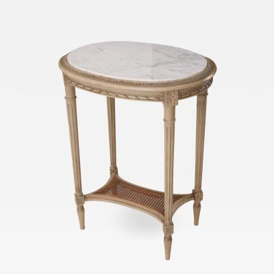 French 19th Century Louis XVI Painted Oval Table with Marble Top