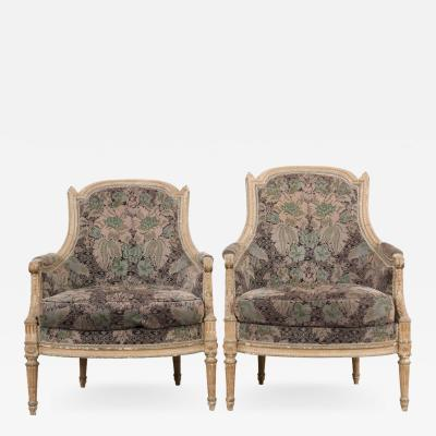French 19th Century Louis XVI Style Pair of Painted Berg res