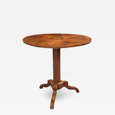 French 19th Century Mahogany Inlay Tea Table