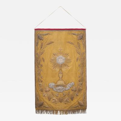 French 19th Century Metallic Embroidered Religious Banner