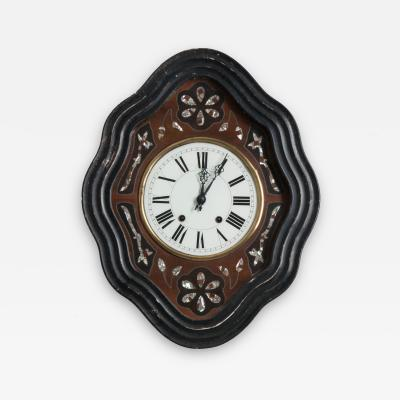 French 19th Century Napoleon III Mother of Pearl Inlay Wall Clock