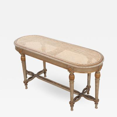 French 19th Century Painted Cane Bench