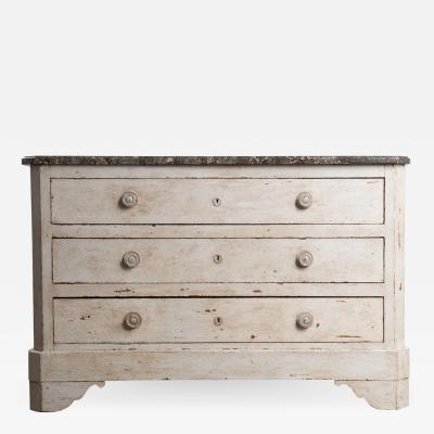 French 19th Century Painted Commode with Marble Top