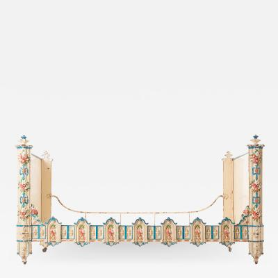 French 19th Century Painted Metal Daybed on Casters