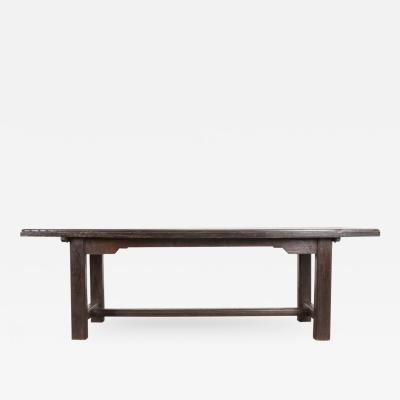 French 19th Century Provincial Oak Trestle Farm Table