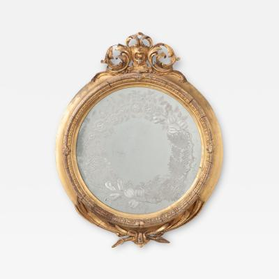 French 19th Century Round Gold Gilt Mirror