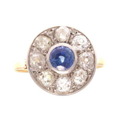 French 19th Century Sapphire Diamond Platinum Gold Cluster Ring