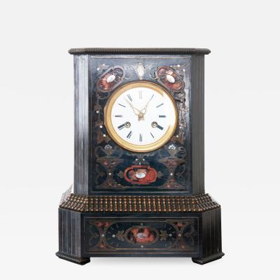 French 19th Century Table Clock of Ebonized Wood with Brass Shell Inlay