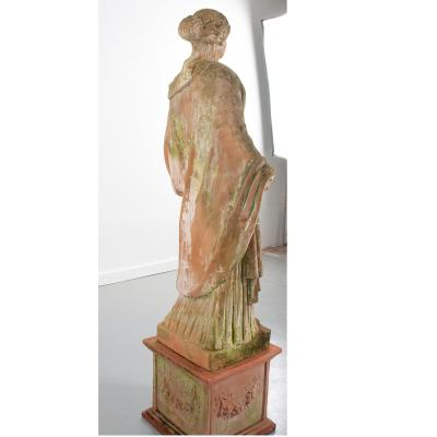 French 19th Century Terracotta Statue on Pedestal