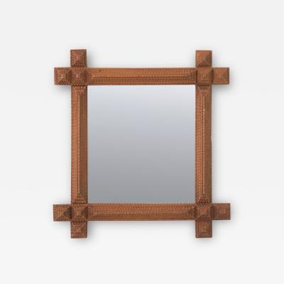 French 19th Century Tramp Art Frame with Mirror